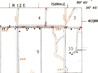 Reduced fragment of topographic map en--usgs--063k--057064--(1956)--N036-45_W090-00--N036-30_W089-45; towns and cities Malden, Bernie, Parma, Risco