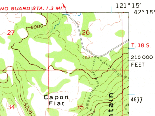 Reduced fragment of topographic map en--usgs--063k--057065--(1957)--N042-15_W121-30--N042-00_W121-15; towns and cities Bonanza, Malin