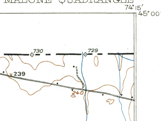 Reduced fragment of topographic map en--usgs--063k--057068--(1917)--N045-00_W074-30--N044-45_W074-15; towns and cities Malone