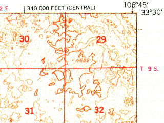 Reduced fragment of topographic map en--usgs--063k--057072--(1948)--N033-30_W107-00--N033-15_W106-45