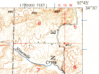 Reduced fragment of topographic map en--usgs--063k--057077--(1948)--N034-30_W093-00--N034-15_W092-45 in area of Lake Catherine; towns and cities Malvern, Perla, Rockport