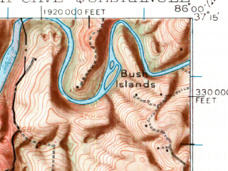 Reduced fragment of topographic map en--usgs--063k--057078--(1922)--N037-15_W086-15--N037-00_W086-00; towns and cities Park City, Smiths Grove