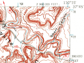 Reduced fragment of topographic map en--usgs--063k--057089--(1952)--N037-45_W110-30--N037-30_W110-15