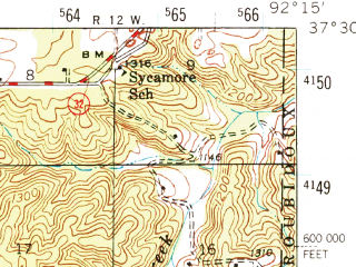 Reduced fragment of topographic map en--usgs--063k--057092--(1941)--N037-30_W092-30--N037-15_W092-15