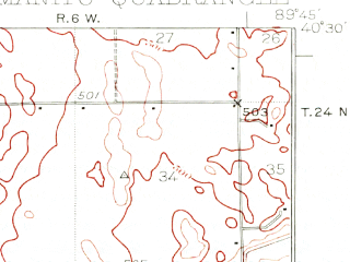 Reduced fragment of topographic map en--usgs--063k--057102--(1929)--N040-30_W090-00--N040-15_W089-45 in area of Big Lake; towns and cities Forest City, Manito, Topeka