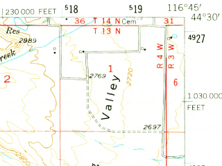 Reduced fragment of topographic map en--usgs--063k--057109--(1953)--N044-30_W117-00--N044-15_W116-45; towns and cities Weiser