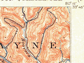 Reduced fragment of topographic map en--usgs--063k--057113--(1905)--N039-45_W080-30--N039-30_W080-15; towns and cities Farmington, Hundred, Mannington