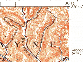 Reduced fragment of topographic map en--usgs--063k--057113--(1923)--N039-45_W080-30--N039-30_W080-15; towns and cities Farmington, Hundred, Mannington