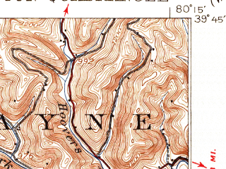 Reduced fragment of topographic map en--usgs--063k--057113--(1926)--N039-45_W080-30--N039-30_W080-15; towns and cities Farmington, Hundred, Mannington