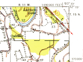 Reduced fragment of topographic map en--usgs--063k--057116--(1945)--N032-15_W093-45--N032-00_W093-30 in area of Clear Lake; towns and cities Mansfield, South Mansfield