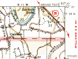 Reduced fragment of topographic map en--usgs--063k--057116--(1947)--N032-15_W093-45--N032-00_W093-30 in area of Clear Lake; towns and cities Mansfield, South Mansfield