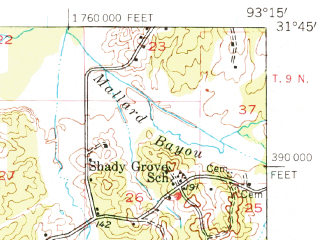 Reduced fragment of topographic map en--usgs--063k--057122--(1957)--N031-45_W093-30--N031-30_W093-15; towns and cities Many, Robeline