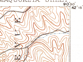 Reduced fragment of topographic map en--usgs--063k--057129--(1891)--N042-15_W090-45--N042-00_W090-30; towns and cities Maquoketa, Andrew