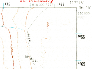 Reduced fragment of topographic map en--usgs--063k--057134--(1951)--N036-45_W117-30--N036-30_W117-15