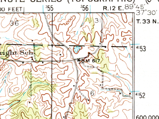 Reduced fragment of topographic map en--usgs--063k--057137--(1933)--N037-30_W090-00--N037-15_W089-45; towns and cities Marble Hill