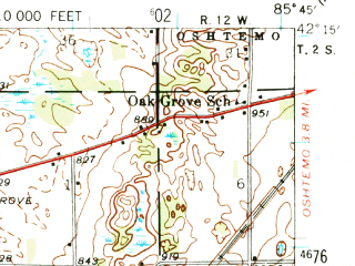 Reduced fragment of topographic map en--usgs--063k--057141--(1944)--N042-15_W086-00--N042-00_W085-45; towns and cities Paw Paw, Decatur, Lawton