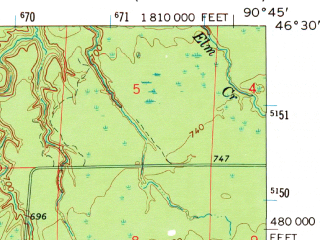 Reduced fragment of topographic map en--usgs--063k--057148--(1967)--N046-30_W091-00--N046-15_W090-45