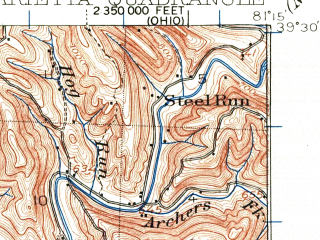Reduced fragment of topographic map en--usgs--063k--057150--(1924)--N039-30_W081-30--N039-15_W081-15; towns and cities Marietta, Belmont, Boaz, Devola