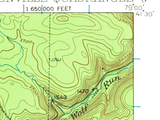 Reduced fragment of topographic map en--usgs--063k--057158--(1936)--N041-30_W079-15--N041-15_W079-00