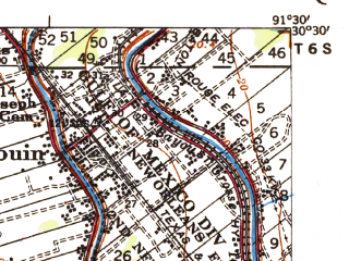 Reduced fragment of topographic map en--usgs--063k--057162--(1935)--N030-30_W091-45--N030-15_W091-30; towns and cities Maringouin
