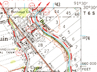 Reduced fragment of topographic map en--usgs--063k--057162--(1959)--N030-30_W091-45--N030-15_W091-30; towns and cities Maringouin
