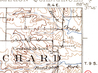 Reduced fragment of topographic map en--usgs--063k--057168--(1925)--N037-45_W089-00--N037-30_W088-45 in area of Lake Egypt; towns and cities Marion, New Burnside, Creal Springs, Goreville