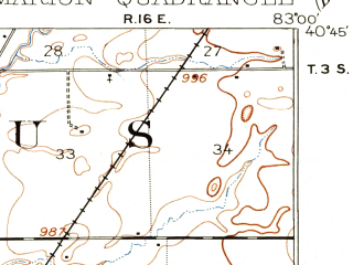 Reduced fragment of topographic map en--usgs--063k--057170--(1903)--N040-45_W083-15--N040-30_W083-00; towns and cities Marion, Green Camp, Morral