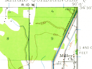 Reduced fragment of topographic map en--usgs--063k--057179--(1932)--N034-30_W090-30--N034-15_W090-15; towns and cities Jonestown, Lula, Marks