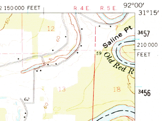 Reduced fragment of topographic map en--usgs--063k--057180--(1962)--N031-15_W092-15--N031-00_W092-00; towns and cities Marksville, Hessmer, Mansura