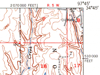 Reduced fragment of topographic map en--usgs--063k--057186--(1951)--N034-45_W098-00--N034-30_W097-45 in area of Clear Creek Lake; towns and cities Duncan, Bray, Marlow