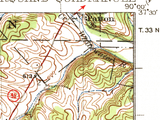 Reduced fragment of topographic map en--usgs--063k--057191--(1938)--N037-30_W090-15--N037-15_W090-00; towns and cities Glenallen, Marquand