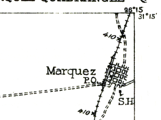 Reduced fragment of topographic map en--usgs--063k--057194--(1930)--N031-15_W096-30--N031-00_W096-15 in area of Camp Creek Lake; towns and cities Franklin, Marquez