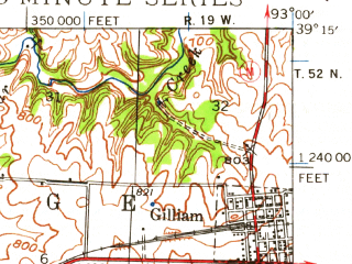 Reduced fragment of topographic map en--usgs--063k--057203--(1940)--N039-15_W093-15--N039-00_W093-00; towns and cities Marshall, Gilliam, Slater