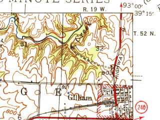 Reduced fragment of topographic map en--usgs--063k--057203--(1944)--N039-15_W093-15--N039-00_W093-00; towns and cities Marshall, Slater, Gilliam