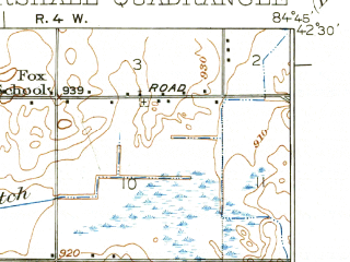Reduced fragment of topographic map en--usgs--063k--057205--(1923)--N042-30_W085-00--N042-15_W084-45; towns and cities Marshall, Olivet
