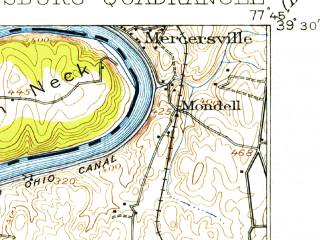 Reduced fragment of topographic map en--usgs--063k--057239--(1914)--N039-30_W078-00--N039-15_W077-45; towns and cities Martinsburg, Bolivar, Charles Town, Ranson