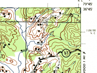 Reduced fragment of topographic map en--usgs--063k--057242--(1944)--N036-45_W080-00--N036-30_W079-45; towns and cities Martinsville, Collinsville, Ridgeway, Villa Heights, Chatmoss-laurel Park