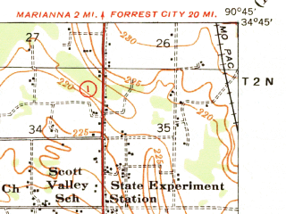 Reduced fragment of topographic map en--usgs--063k--057243--(1940)--N034-45_W091-00--N034-30_W090-45; towns and cities Aubrey, Lexa, Marvell
