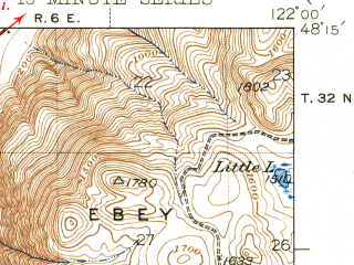 Reduced fragment of topographic map en--usgs--063k--057248--(1943)--N048-15_W122-15--N048-00_W122-00; towns and cities Marysville, North Marysville, Priest Point, Shaker Church, Smokey Point