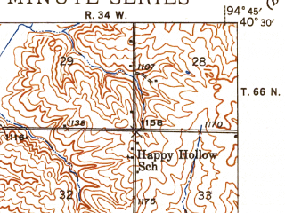 Reduced fragment of topographic map en--usgs--063k--057250--(1943)--N040-30_W095-00--N040-15_W094-45; towns and cities Maryville, Arkoe, Pickering
