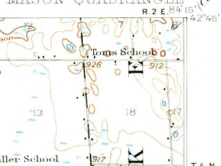 Reduced fragment of topographic map en--usgs--063k--057255--(1909)--N042-45_W084-30--N042-30_W084-15; towns and cities East Lansing, Okemos, Mason, Dansville, Williamston