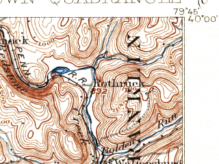 Reduced fragment of topographic map en--usgs--063k--057258--(1903)--N040-00_W080-00--N039-45_W079-45; towns and cities Republic, Rices Landing, Smithfield