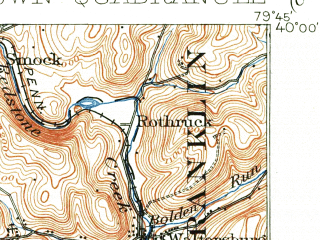 Reduced fragment of topographic map en--usgs--063k--057258--(1931)--N040-00_W080-00--N039-45_W079-45; towns and cities Smithfield, Carmichaels, Fairchance