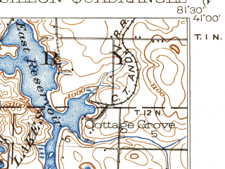 Reduced fragment of topographic map en--usgs--063k--057262--(1903)--N041-00_W081-45--N040-45_W081-30; towns and cities Massillon, Portage Lakes, Canal Fulton, Clinton, Dalton