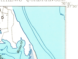 Reduced fragment of topographic map en--usgs--063k--057267--(1916)--N037-30_W076-30--N037-15_W076-15 in area of Mobjack Bay; towns and cities Gloucester Point
