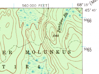 Reduced fragment of topographic map en--usgs--063k--057270--(1940)--N045-45_W068-30--N045-30_W068-15 in area of Molunkus Lake, Mattaseunk Lake