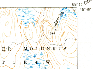 Reduced fragment of topographic map en--usgs--063k--057270--(1942)--N045-45_W068-30--N045-30_W068-15 in area of Molunkus Lake, Mattaseunk Lake