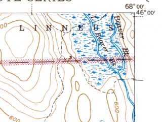 Reduced fragment of topographic map en--usgs--063k--057271--(1943)--N046-00_W068-15--N045-45_W068-00 in area of Mattawamkeag Lake, Wytopitlock Lake