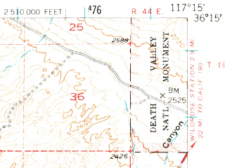Reduced fragment of topographic map en--usgs--063k--057275--(1951)--N036-15_W117-30--N036-00_W117-15
