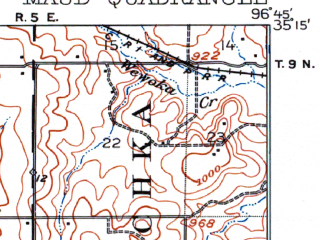 Reduced fragment of topographic map en--usgs--063k--057276--(1907)--N035-15_W097-00--N035-00_W096-45; towns and cities Brooksville, Maud, St. Louis